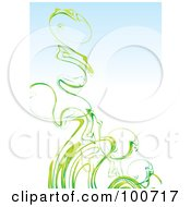 Royalty Free RF Clipart Illustration Of Green Spring Smoke Over Gradient Blue by MilsiArt