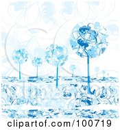 Royalty Free RF Clipart Illustration Of Rounded Blue Winter Trees Against A Floral Background by MilsiArt