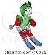 Dollar Sign Mascot Cartoon Character Skiing Downhill by Toons4Biz