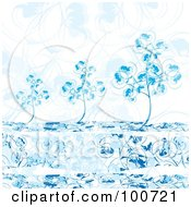 Royalty Free RF Clipart Illustration Of Blue Winter Trees Against A Floral Background by MilsiArt