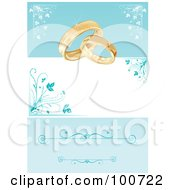 Royalty Free RF Clipart Illustration Of A Wedding Card Invitation With Rings And A Blue Floral Background by MilsiArt