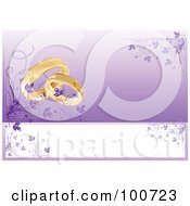 Wedding Card Invitation With Rings And A Purple Floral Background