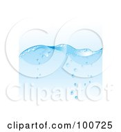 Royalty Free RF Clipart Illustration Of A Blue Water Wave Background With Rising Bubbles by MilsiArt