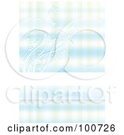 Royalty Free RF Clipart Illustration Of An Abstract Blue Floral Background With A Horizontal Text Bar by MilsiArt