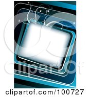 Royalty Free RF Clipart Illustration Of A White Slanted Box On A Blue Floral Background by MilsiArt