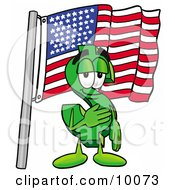 Dollar Sign Mascot Cartoon Character Pledging Allegiance To An American Flag by Toons4Biz