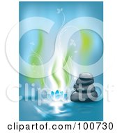 Royalty Free RF Clipart Illustration Of A Spa Background With Stacked Stones And Floral Smoke