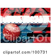 Royalty Free RF Clipart Illustration Of A Disco Party Background With A Red Disco Ball Feet And Halftone by MilsiArt
