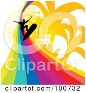 Royalty Free RF Clipart Illustration Of A Silhouetted Surfer Surfing A Rainbow Wave Over A Palm Tree And Halftone Background by MilsiArt