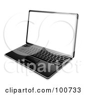Royalty Free RF Clipart Illustration Of A Modern Black Laptop Angled To The Left With A White Screen by MilsiArt