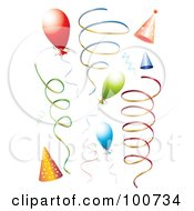 Royalty Free RF Clipart Illustration Of A Digital Collage Of Party Balloons Ribbon Streamers And Party Hats by MilsiArt