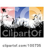 Royalty Free RF Clipart Illustration Of A Background Of Three Spring Landscape Banners With Silhouetted Flowers by MilsiArt