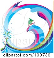 Royalty Free RF Clipart Illustration Of A Green Sailboat Sailing On A Rainbow Swirl Wave