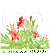 Royalty Free RF Clipart Illustration Of A Background Of Red Flowers And Green Foliage Over White by MilsiArt