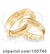 Royalty Free RF Clipart Illustration Of A Golden Bride And Groom Wedding Rings With Diamonds