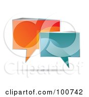 Royalty Free RF Clipart Illustration Of Shiny 3d Orange And Blue Speech Clouds