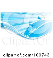 Royalty Free RF Clipart Illustration Of Two Blue Sailboats Sailing On White And Blue Waves Under Sun Rays by MilsiArt