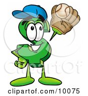 Clipart Picture Of A Dollar Sign Mascot Cartoon Character Catching A Baseball With A Glove by Toons4Biz
