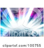 Royalty Free RF Clipart Illustration Of A Bright Burst Of Binary Code Emerging Behind The Earth