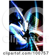 Silhouetted Basketball Player Jumping Towards A Hoop Over A Colorful Fractal Background