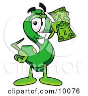 Clipart Picture Of A Dollar Sign Mascot Cartoon Character Holding A Dollar Bill by Toons4Biz #COLLC10076-0015