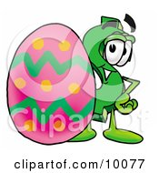 Clipart Picture Of A Dollar Sign Mascot Cartoon Character Standing Beside An Easter Egg by Toons4Biz