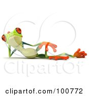 Royalty Free RF Clipart Illustration Of A 3d Argie Frog Facing Front And Reclining