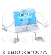 3d White Laptop Character Facing Front And Gesturing