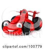 Royalty Free RF Clipart Illustration Of A 3d Red Formula One Race Car Smiling