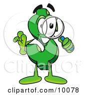 Dollar Sign Mascot Cartoon Character Looking Through A Magnifying Glass by Toons4Biz