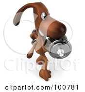 Royalty Free RF Clipart Illustration Of A 3d Brown Pooch Doing Alternate Bicep Curls With Dumbbells