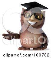 3d Owl Professor Gesturing To The Left
