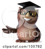 Royalty Free RF Clipart Illustration Of A 3d Owl Professor Gesturing To The Left by Julos
