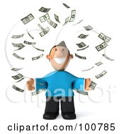 Royalty Free RF Clipart Illustration Of A 3d Casual Man Facing Front Surrounded By Falling Money by Julos