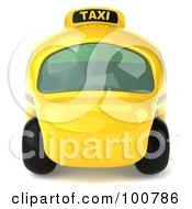 3d Yellow Taxi Cab Facing Forward