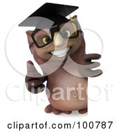 3d Owl Professor Holding A Thumb Up By A Blank Sign