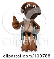 Royalty Free RF Clipart Illustration Of A 3d Brown Pooch Sitting In A Wheelchair And Holding A Thumb Up