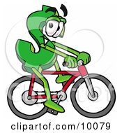 Dollar Sign Mascot Cartoon Character Riding A Bicycle by Toons4Biz