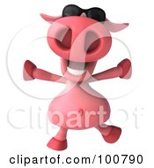 Royalty Free RF Clipart Illustration Of A 3d Pookie Pig Character Running And Wearing Shades