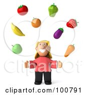 Royalty Free RF Clipart Illustration Of A 3d Casual Woman Facing Front And Juggling Organic Produce