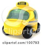 3d Yellow Taxi Cab Facing Left