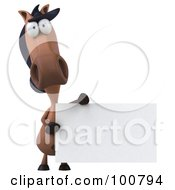 Royalty Free RF Clipart Illustration Of A 3d Charlie Horse Character Facing Front With A Blank Sign