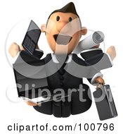 Multi Tasking 3d Toon Guy With A Laptop Cell Phone Plans And Briefcase
