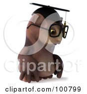 Royalty Free RF Clipart Illustration Of A 3d Owl Professor Pouting To The Right