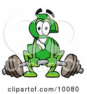 Dollar Sign Mascot Cartoon Character Lifting A Heavy Barbell by Toons4Biz