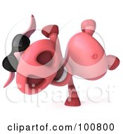 Royalty Free RF Clipart Illustration Of A 3d Pookie Pig Character Doing A Hand Stand And Wearing Shades