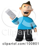 Royalty Free RF Clipart Illustration Of A 3d Casual Man Facing Front And Holding An Envelope