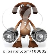 Royalty Free RF Clipart Illustration Of A 3d Brown Pooch Facing Front With A Dumbbell In Each Hand