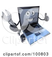 3d Laptop Character Holding A Wrench And A Thumb Up