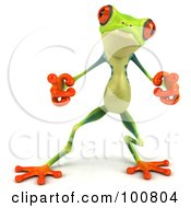Royalty Free RF Clipart Illustration Of A 3d Argie Frog Facing Front And Pointing by Julos